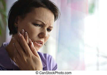 Sick woman with tooth pain - Portrait of Sick woman with...