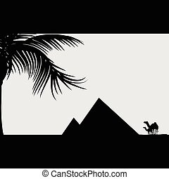 pyramid with camel illustration