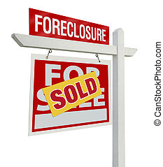 Sold Foreclosure Real Estate Sign Isolated - Left - Sold...