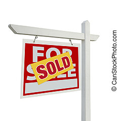 Sold For Sale Real Estate Sign Isolated - Left