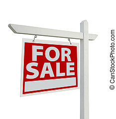 For Sale Real Estate Sign Isolated - Left