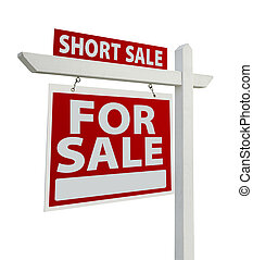 Short Sale Real Estate Sign Isolated - Left - Short Sale...