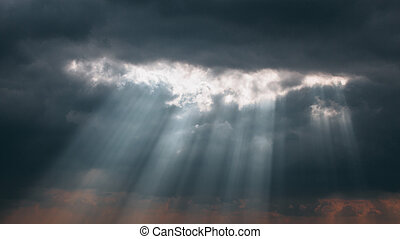 Crepuscular Sun Rays Through Cloud - Light beams shining...
