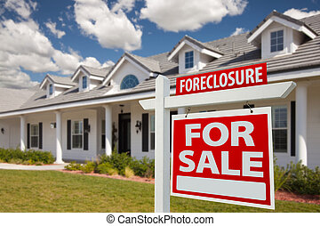 Foreclosure Real Estate Sign and House - Right - Foreclosure...