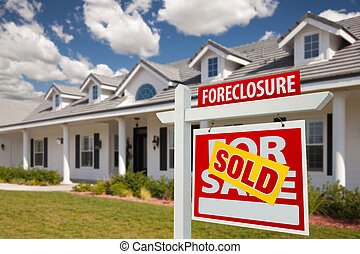 Sold Foreclosure Real Estate Sign and House - Right