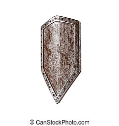 Old shield isolated on the white background.