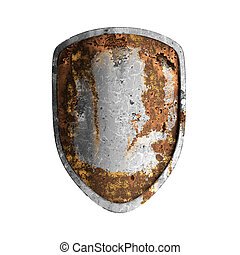 Old rusted shield isolated on white background.