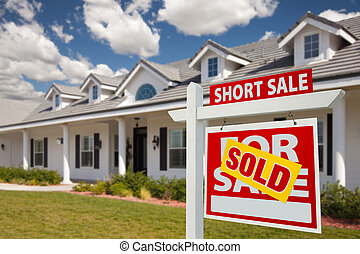 Sold Short Sale Real Estate Sign and House - Right - Sold...