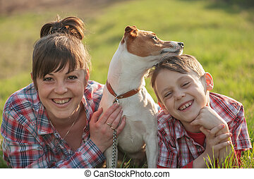 mom - Son and mom with dog in park