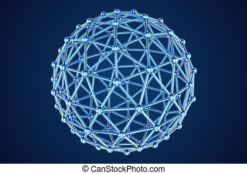 3d model of abstract sphere on blue background