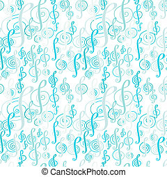 Seamless music pattern with a treble clef. - Seamless music...