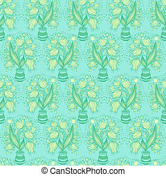 Seamless pattern with stylize drawing of tulips in a pot.