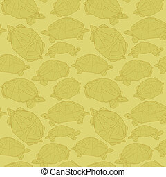 Origami turtles drawing illustration Wallpaper seamless...