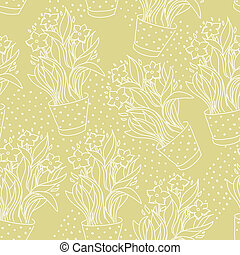 Wallpaper seamless pattern with narcissus in flowerpot made...