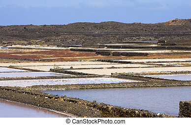 Saltworks in Lanzarote island Spain