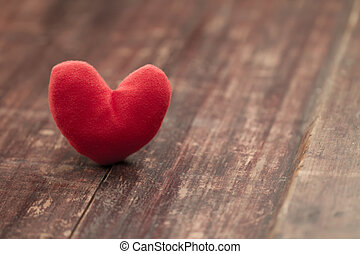 red heart on a wooden table Background Valentine and 39;s...