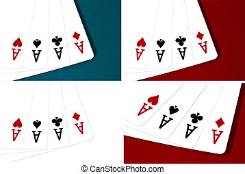 Collage four aces on the table casino