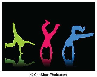 Cartwheel Color - Silhouette of a boy doing a cartwheel on a...
