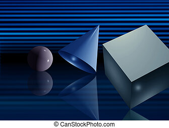 Basic geometry 3D elements sphere cone and cube on dark...