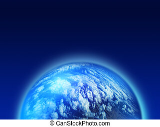 Blue cloudy planet - Shining blue planet covered with clouds...