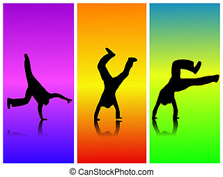 Flip Color - Silhouette of a boy doing a cartwheel on a...
