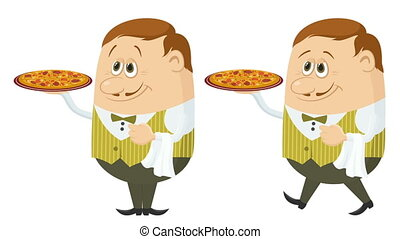 Waiter with Pizza, Seamless Loop - Fullhd 1920x1080...