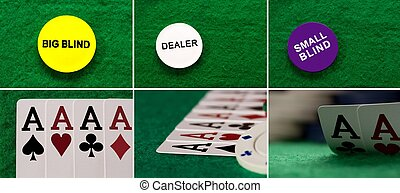 Collage four aces on the table casino and blind chip viewed from above