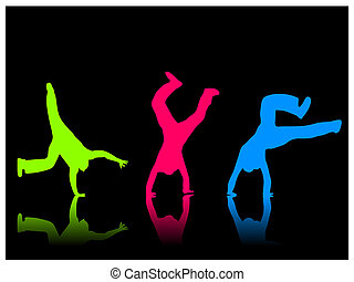 Color Cartwheel - Silhouette of a boy doing a cartwheel on a...