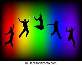 Rainbow Jump - Silhouette of a boy jumping on a rainbow...