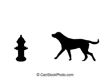 Dog and Hydrant - Silhouette of a dog and fire hydrant...