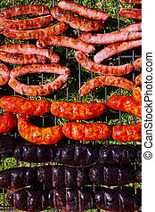 Grilled sausages at  barbeque