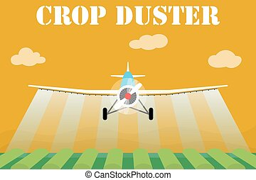Crop duster airplane spraying a farm field. Vector...