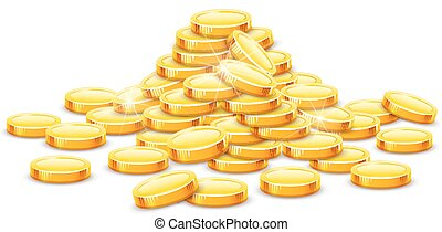 Gold coins cash money in hill - Gold coins cash money in...