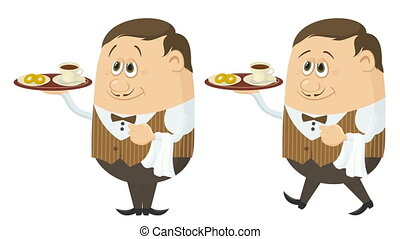Waiter with Coffee and Buns Seamless Loop - Fullhd 1920x1080...