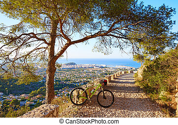 Montaña, bicicleta, MTB, Denia, en, Montgo, pista,...