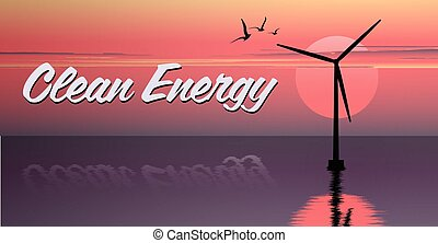 vector illustration of windmill. electric windmill in the sea. windmill at sunset. windmill at sunrise. clean energy icon. clean energy logo.