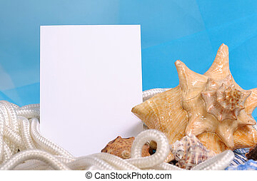Frame for photo on a sea blue background with shell