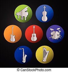 Silhouettes of musical instruments. Musical instruments icons