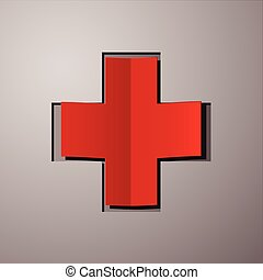 White cross with red back - sticker or card - vector - medicine - health care