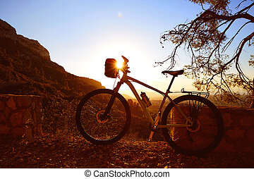 Montaña, bicicleta, MTB, ocaso, en, Denia, en,...
