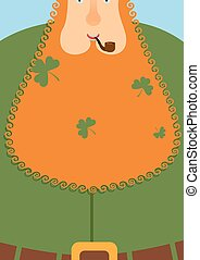 Good leprechaun.. Portrait of cheerful old man with Red Beard. Green frock coat and belt. Clover in big beard. Character for St. Patricks Day March 17