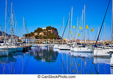 Denia marina Port and Castle in Alicante at Spain...