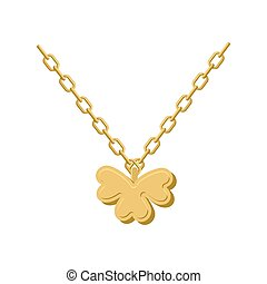 Pendant of Golden clover Gold chain and pendant symbol of St...