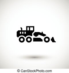 Road grader icon isolated on grey Vector illustration
