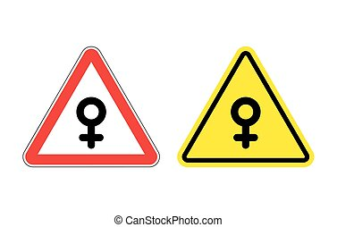 Warning sign of attention woman Yellow danger girl Female...