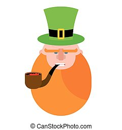 leprechaun with Red Beard. Portrait of angry leprechaun. Pipe and Green Hat cylinder. Serious leprechaun. Illustration for St. Patrick's day in Ireland