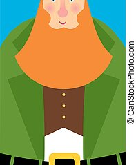Good Leprechaun in green frock coat. Big Red Beard. The cheerful leprechaun in Brown waistcoat. Illustration for Saint Patrick's Day March 17. National holiday in Ireland