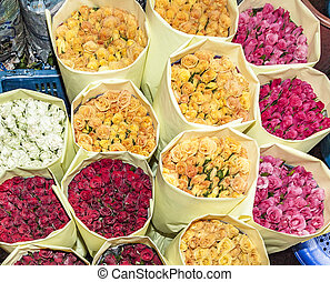 roses at the flower market in Bangkok - colorful roses at...