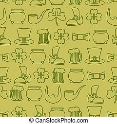 Patricks day seamless background pattern of an old shoe and...