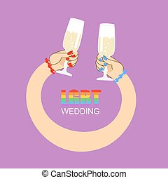 LGBT wedding. Symbol of wedding of two women. Lesbian wedding feast. Female hands holding glasses with white wine.
